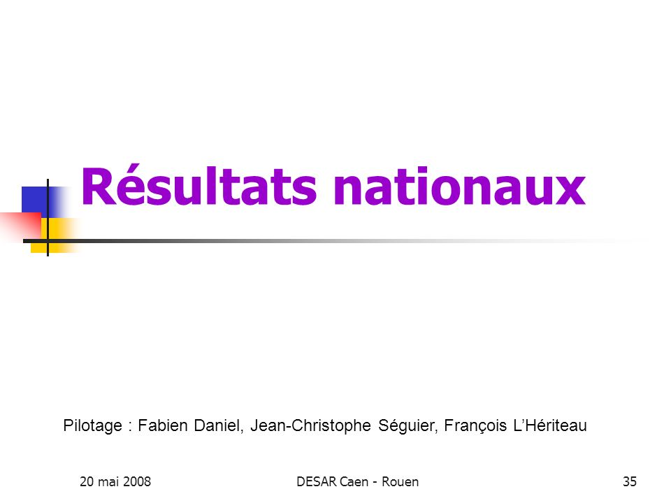 Résultats nationaux Pilotage : Fabien Daniel, Jean-Christophe Séguier, François L'Hériteau. 20 mai 2008.