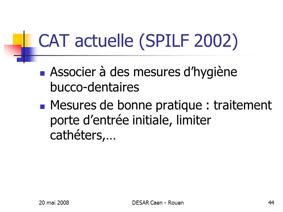 CAT actuelle (SPILF 2002) Associer à des mesures d'hygiène bucco-dentaires.
