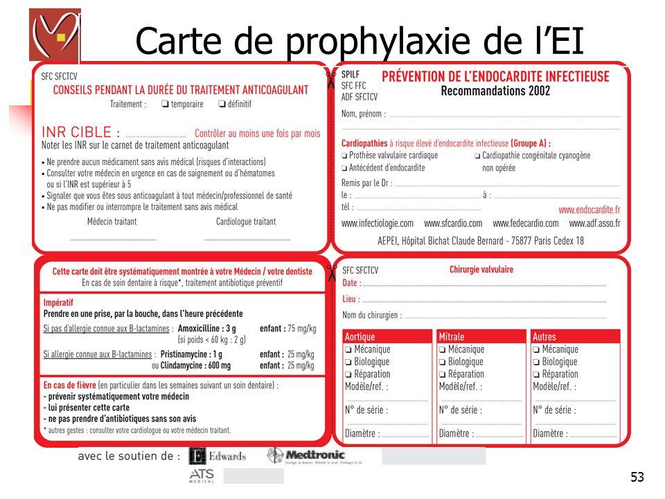 Carte de prophylaxie de l'EI