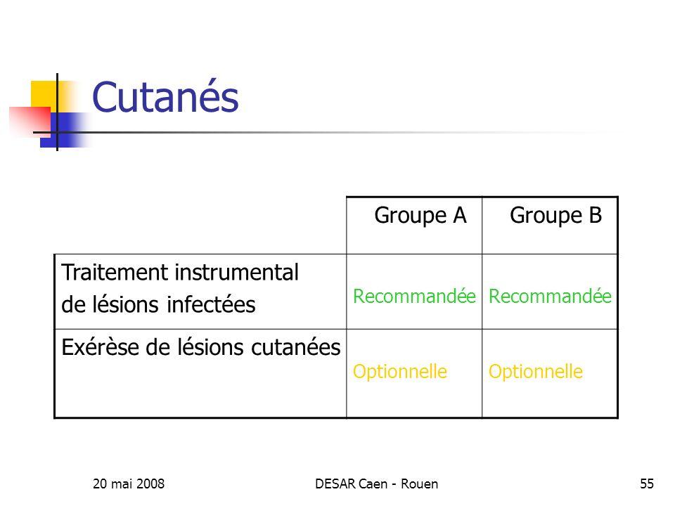 Cutanés Groupe A Groupe B Traitement instrumental de lésions infectées