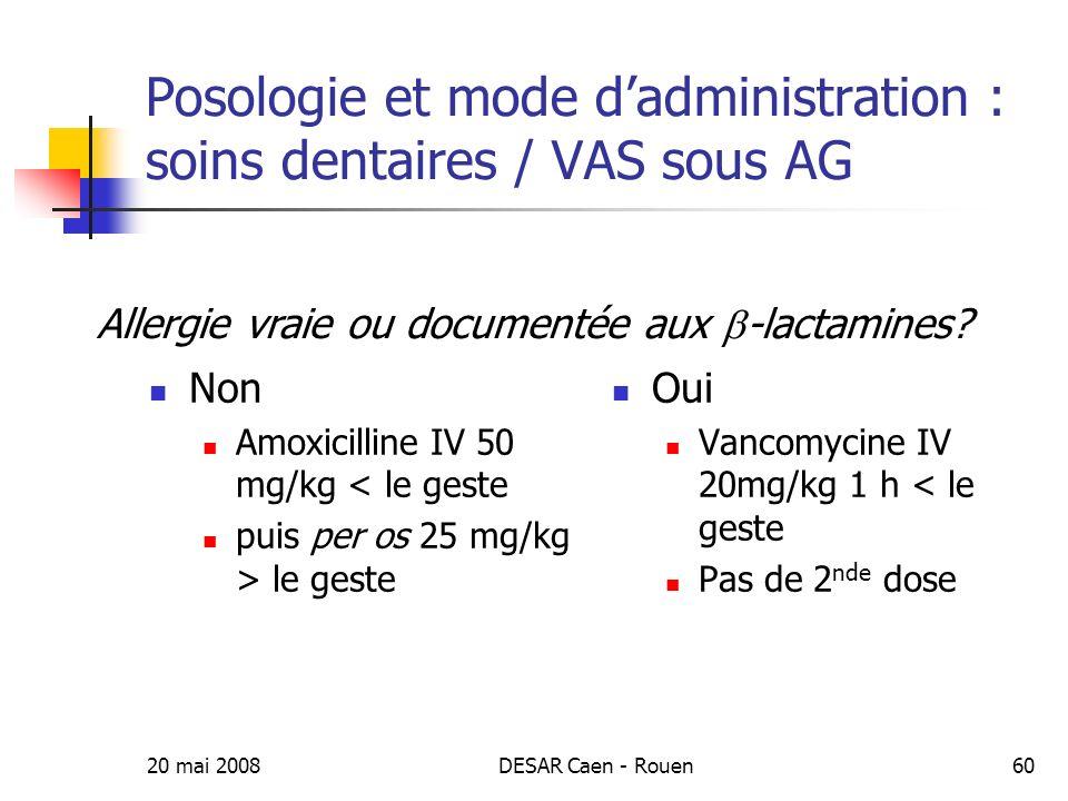 Posologie et mode d'administration : soins dentaires / VAS sous AG