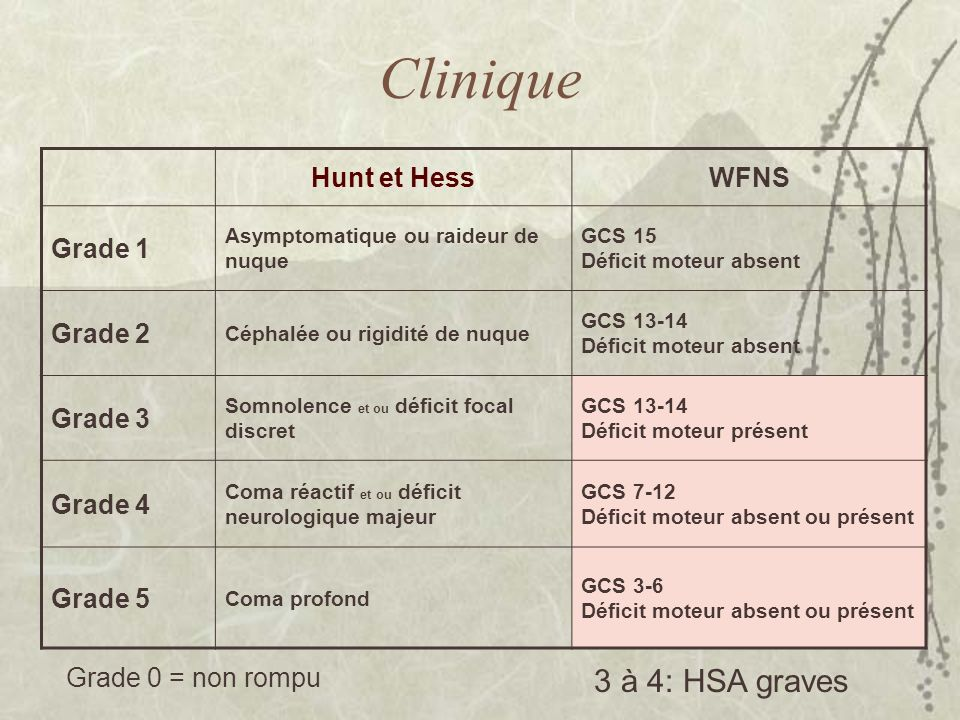 Clinique 3 à 4: HSA graves Hunt et Hess WFNS Grade 1 Grade 2 Grade 3