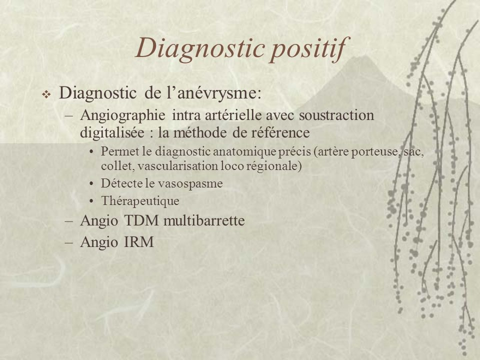 Diagnostic positif Diagnostic de l'anévrysme: