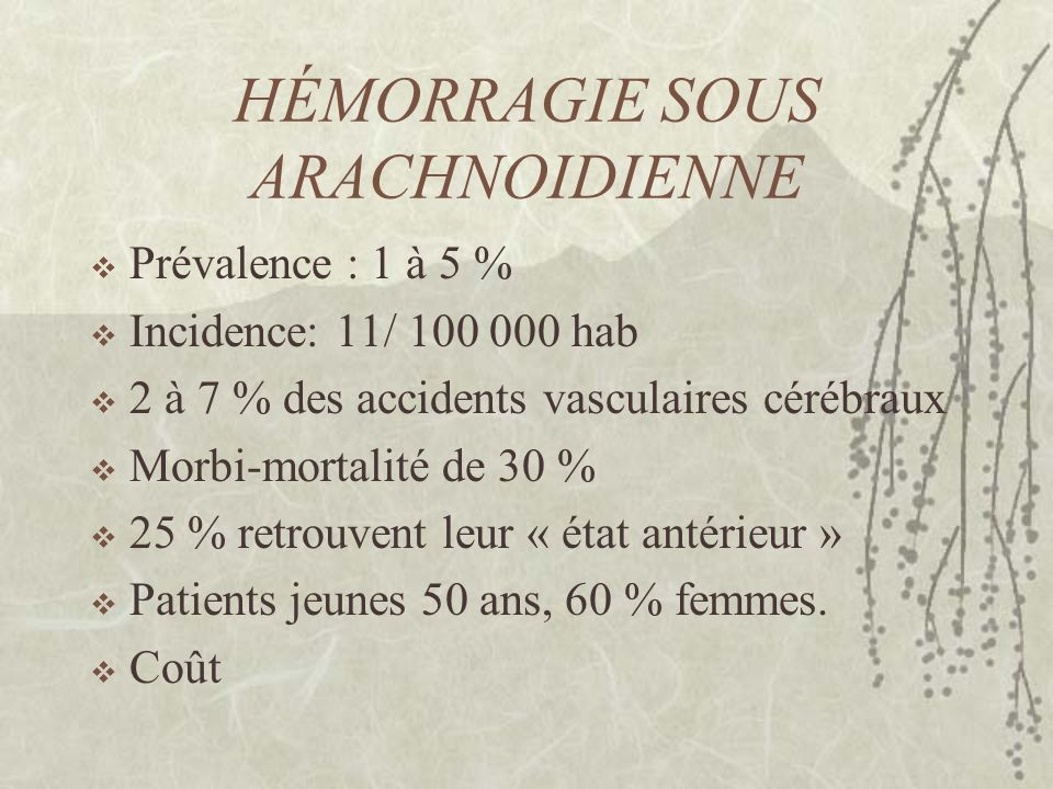 HÉMORRAGIE SOUS ARACHNOIDIENNE