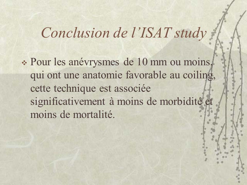 Conclusion de l'ISAT study