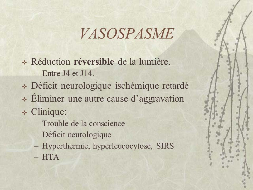 VASOSPASME Réduction réversible de la lumière.