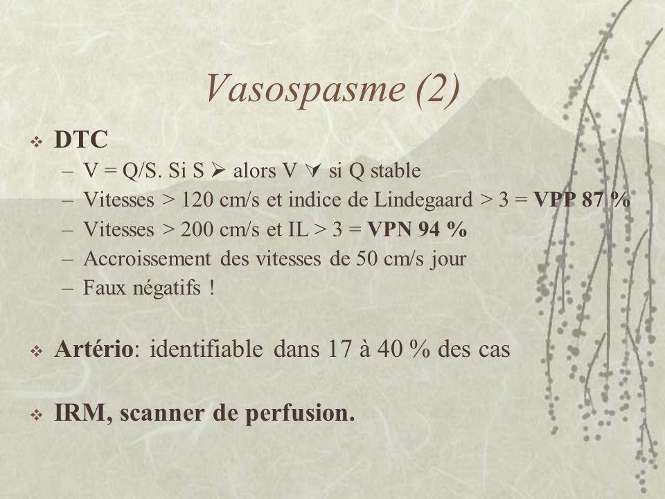 Vasospasme (2) DTC Artério: identifiable dans 17 à 40 % des cas