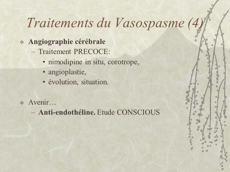 Traitements du Vasospasme (4)
