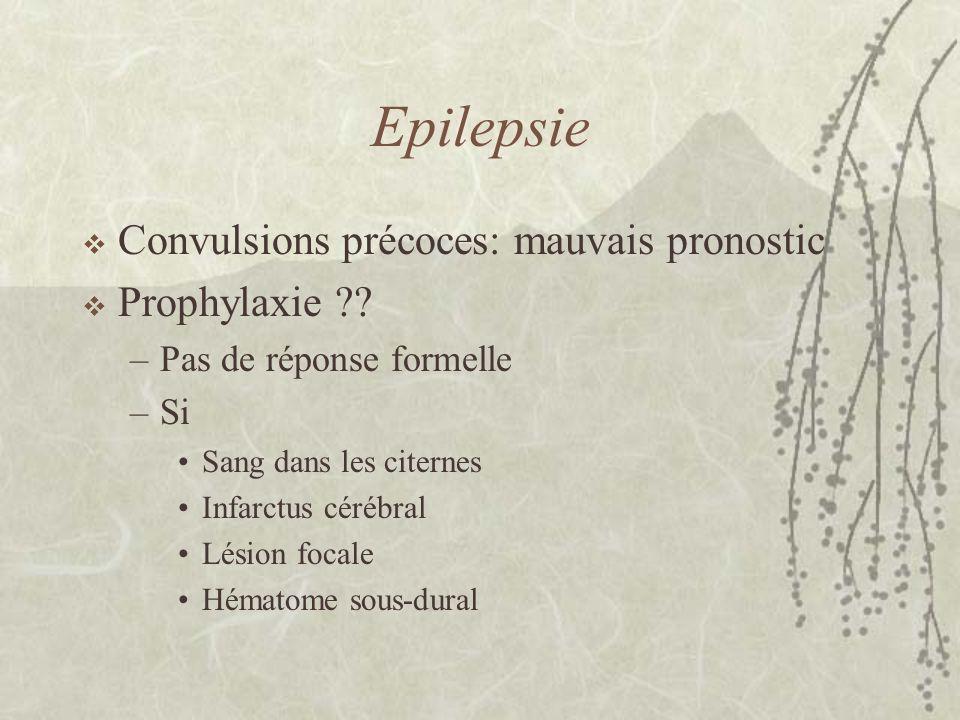 Epilepsie Convulsions précoces: mauvais pronostic Prophylaxie