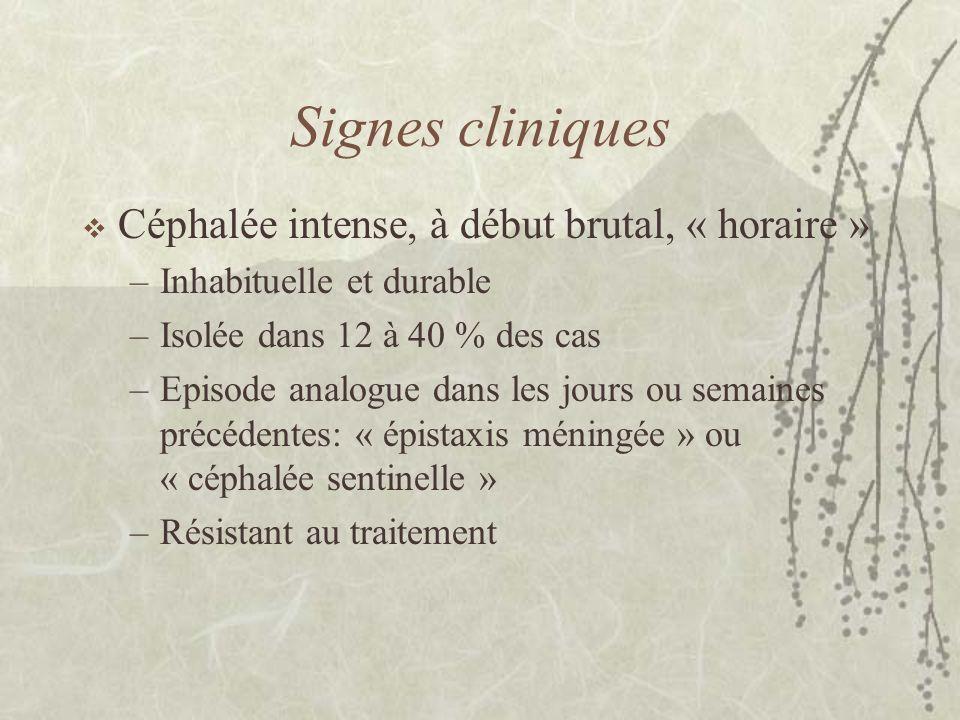 Signes cliniques Céphalée intense, à début brutal, « horaire »