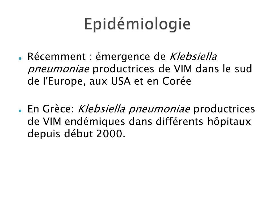 Récemment : émergence de Klebsiella pneumoniae productrices de VIM dans le sud de l Europe, aux USA et en Corée