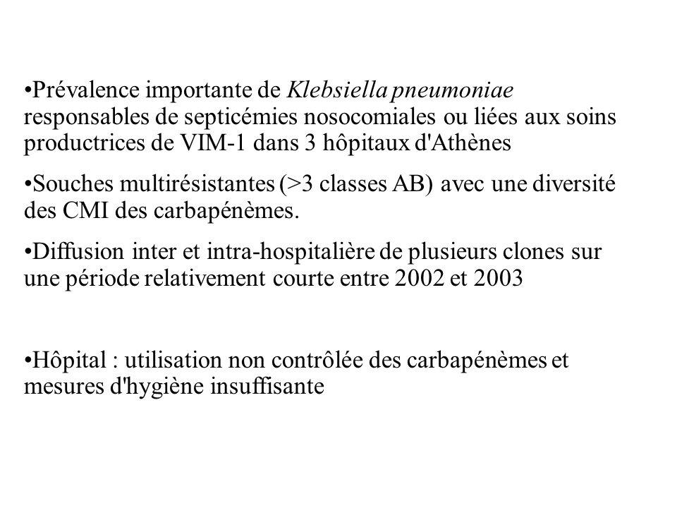 Prévalence importante de Klebsiella pneumoniae responsables de septicémies nosocomiales ou liées aux soins productrices de VIM-1 dans 3 hôpitaux d Athènes