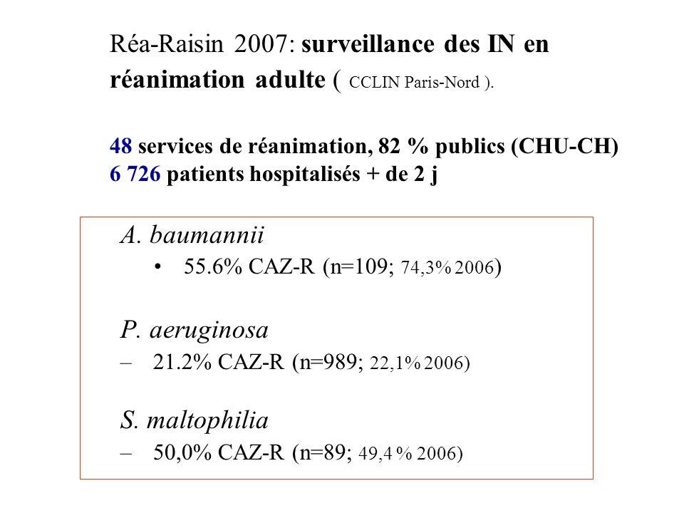 Réa-Raisin 2007: surveillance des IN en réanimation adulte ( CCLIN Paris-Nord ). 48 services de réanimation, 82 % publics (CHU-CH) 6 726 patients hospitalisés + de 2 j