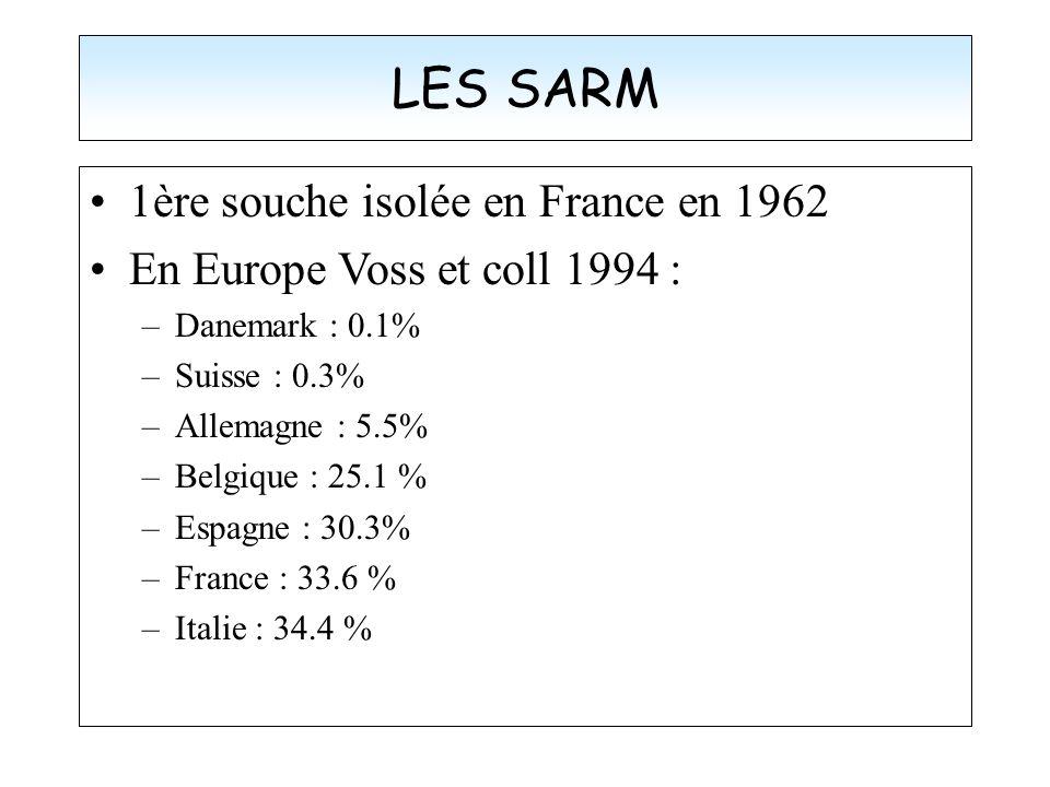 LES SARM 1ère souche isolée en France en 1962