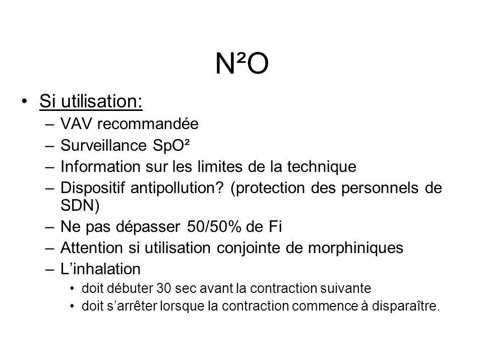 N²O Si utilisation: VAV recommandée Surveillance SpO²