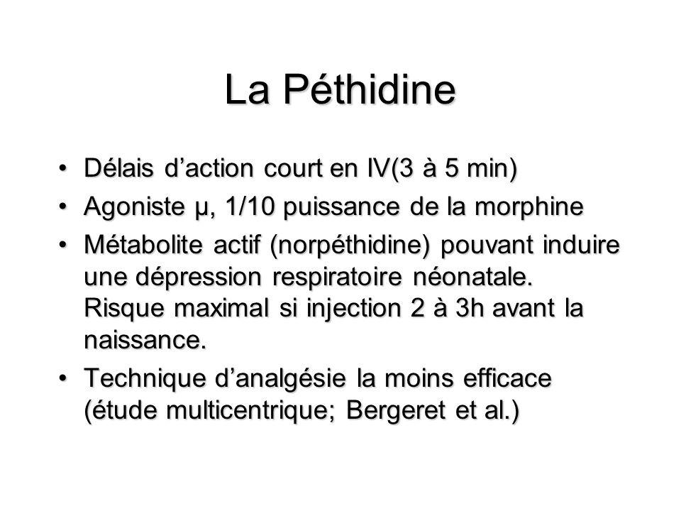 La Péthidine Délais d'action court en IV(3 à 5 min)