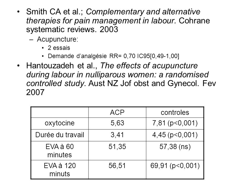 Smith CA et al.; Complementary and alternative therapies for pain management in labour. Cohrane systematic reviews. 2003