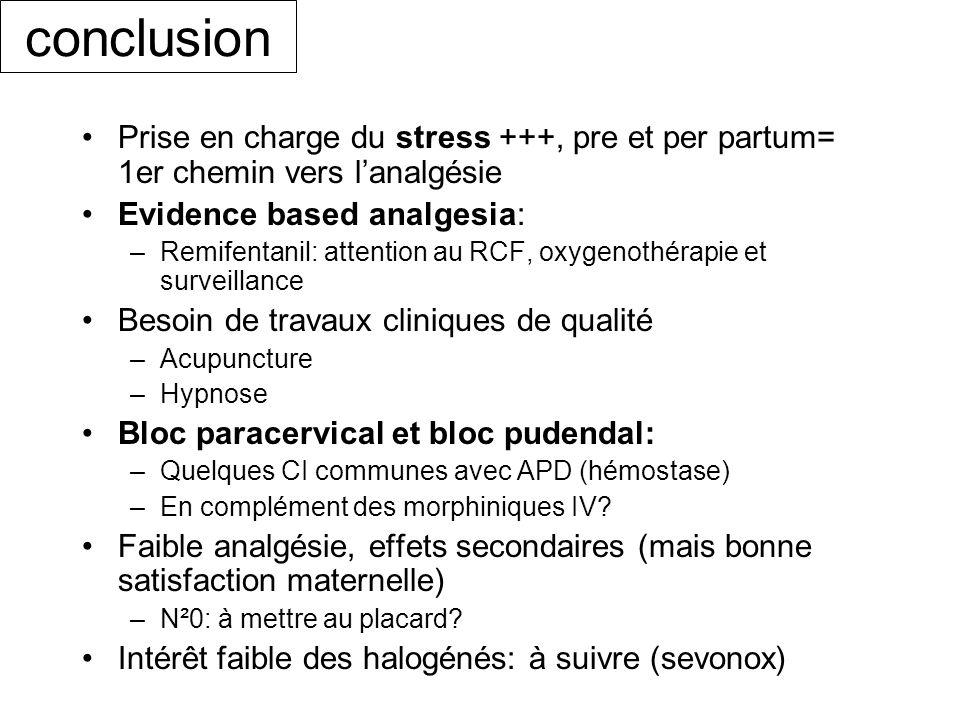 conclusion Prise en charge du stress +++, pre et per partum= 1er chemin vers l'analgésie. Evidence based analgesia: