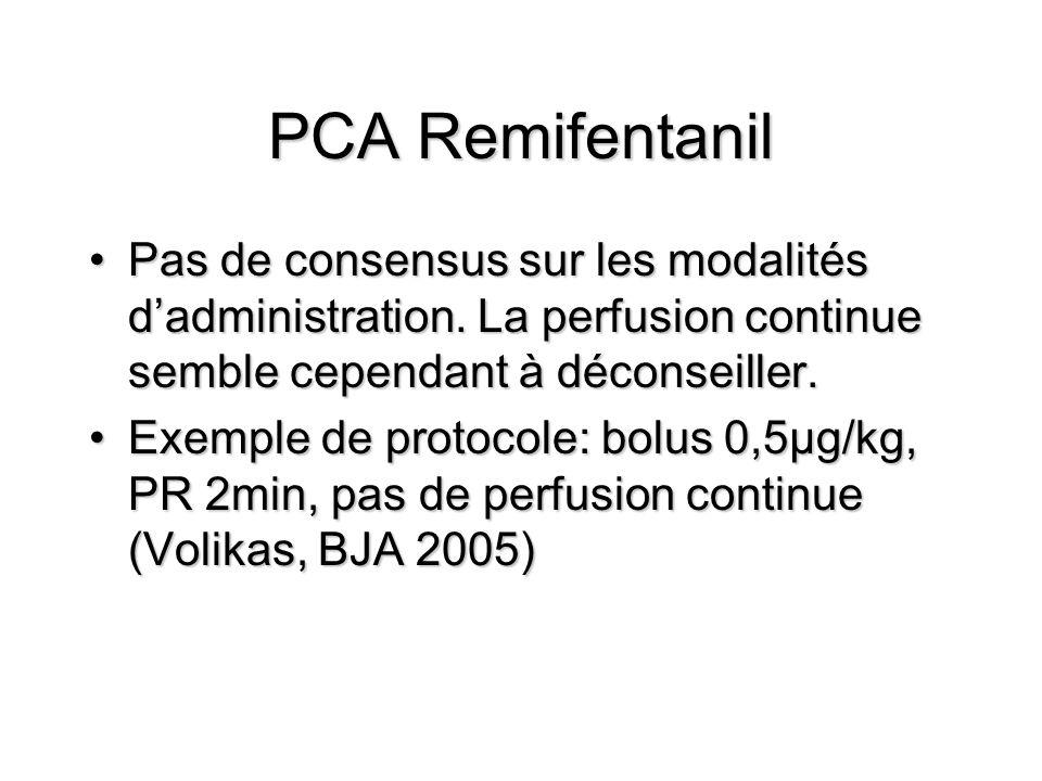 PCA Remifentanil Pas de consensus sur les modalités d'administration. La perfusion continue semble cependant à déconseiller.