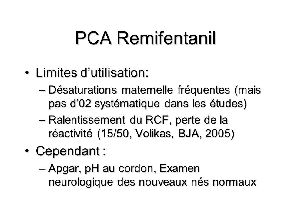 PCA Remifentanil Limites d'utilisation: Cependant :