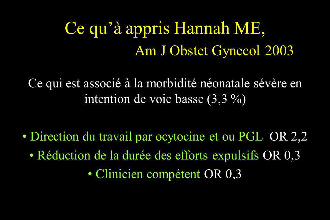 Ce qu'à appris Hannah ME, Am J Obstet Gynecol 2003