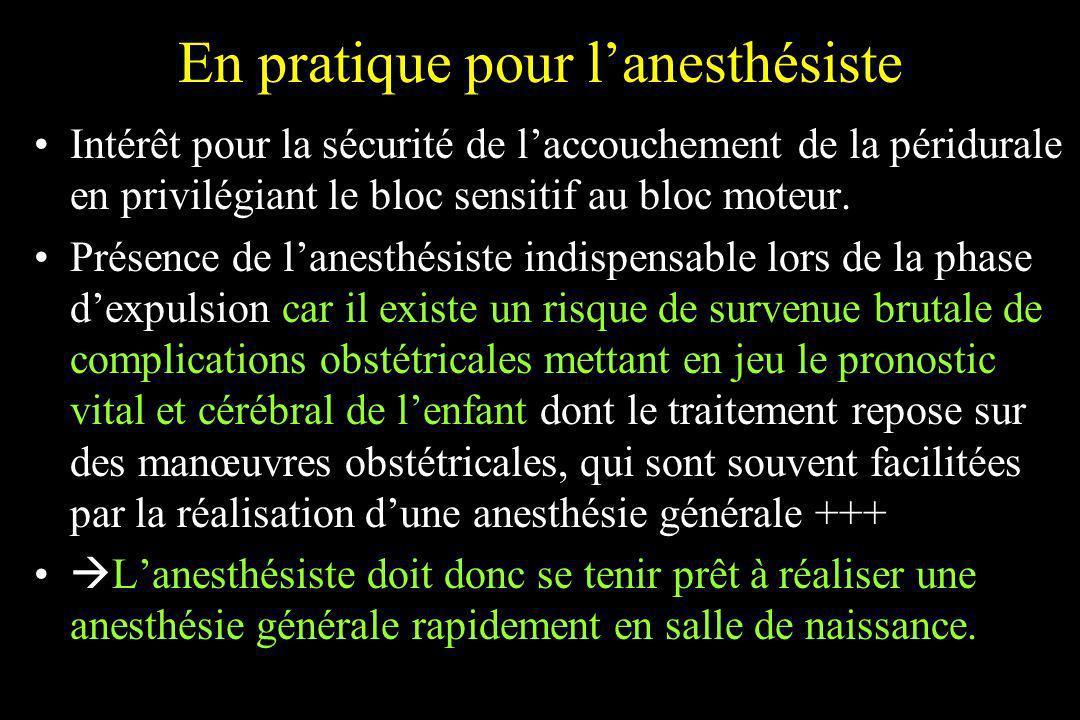 En pratique pour l'anesthésiste