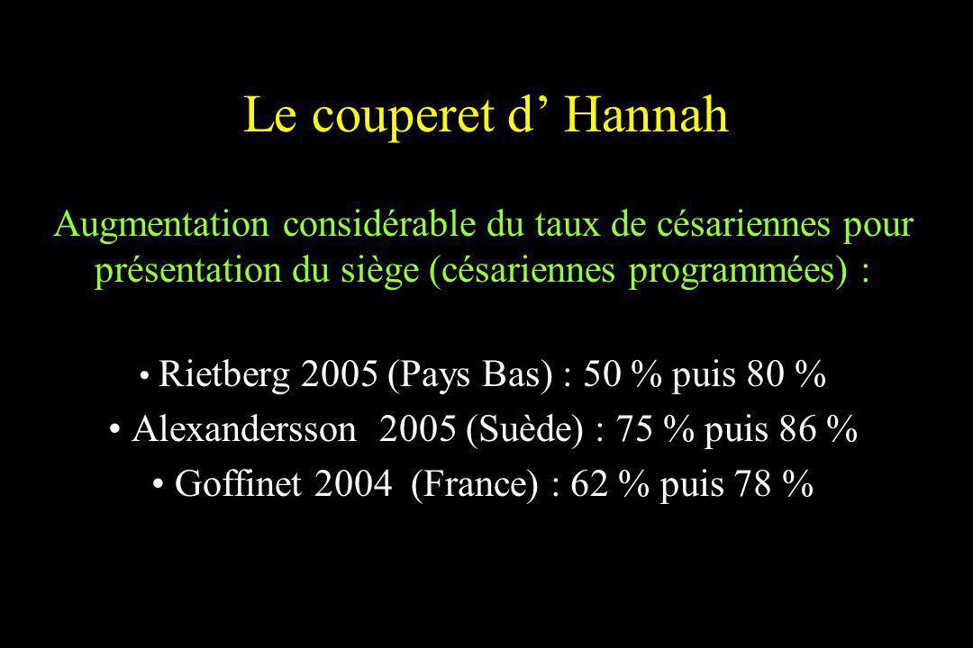 Le couperet d' HannahAugmentation considérable du taux de césariennes pour présentation du siège (césariennes programmées) :