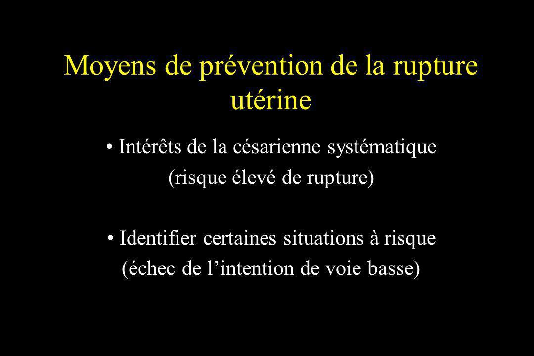 Moyens de prévention de la rupture utérine