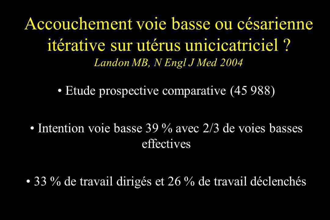 Accouchement voie basse ou césarienne itérative sur utérus unicicatriciel Landon MB, N Engl J Med 2004