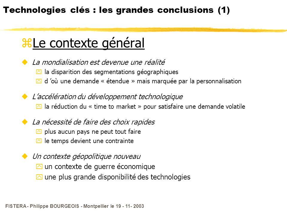 Technologies clés : les grandes conclusions (1)