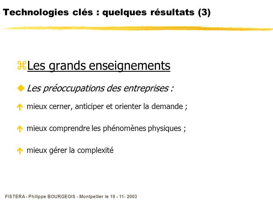 Technologies clés : quelques résultats (3)