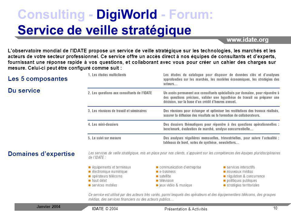Consulting - DigiWorld - Forum: Service de veille stratégique