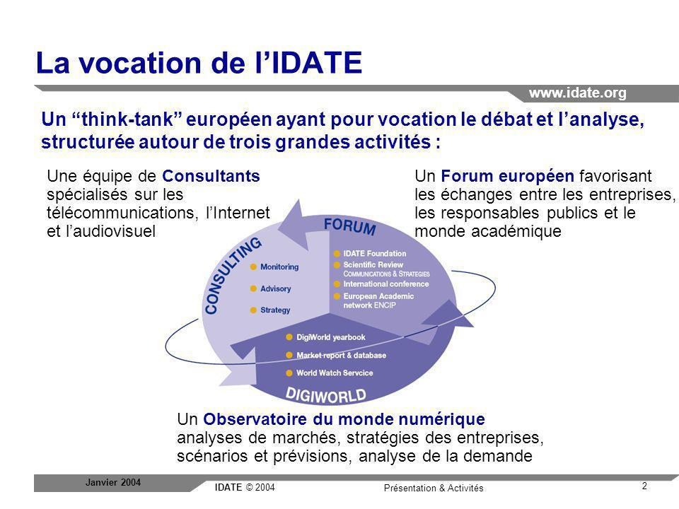 La vocation de l'IDATE Un think-tank européen ayant pour vocation le débat et l'analyse, structurée autour de trois grandes activités :