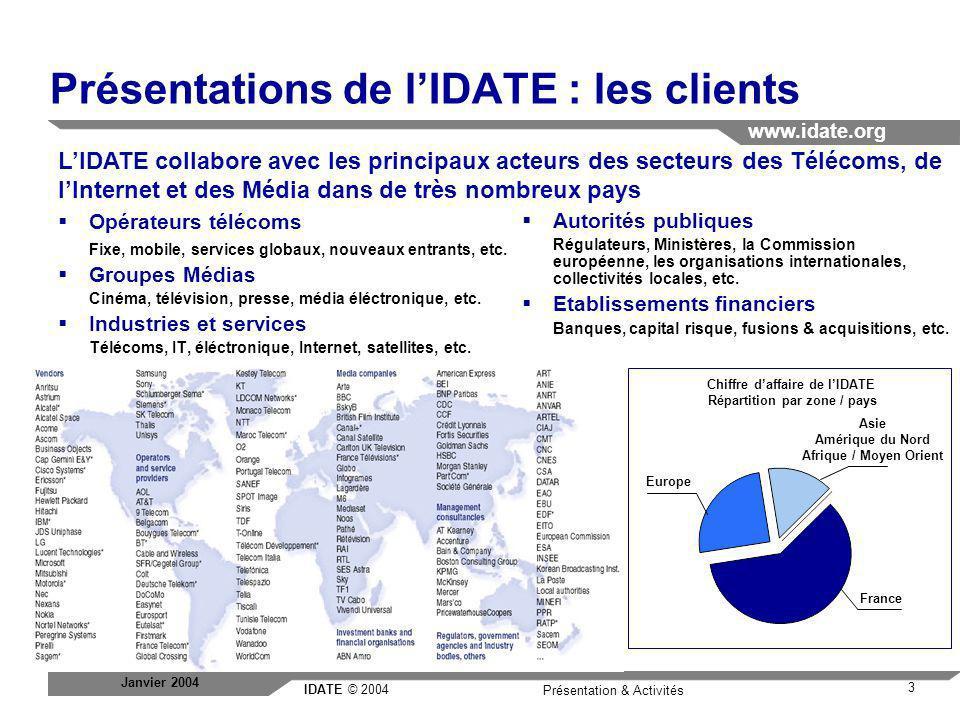 Présentations de l'IDATE : les clients