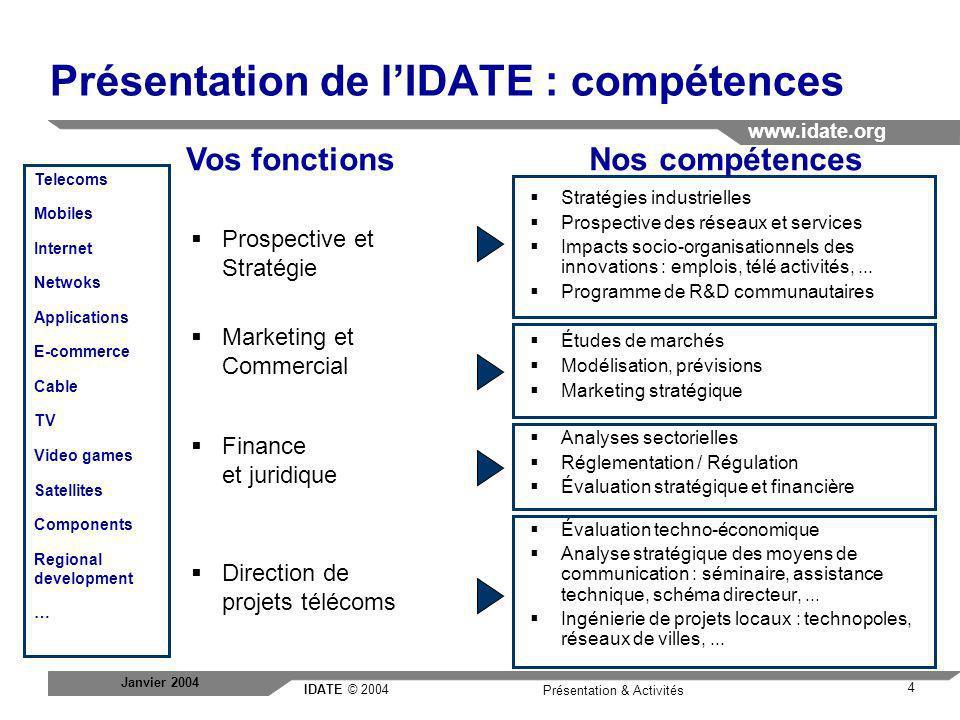 Présentation de l'IDATE : compétences