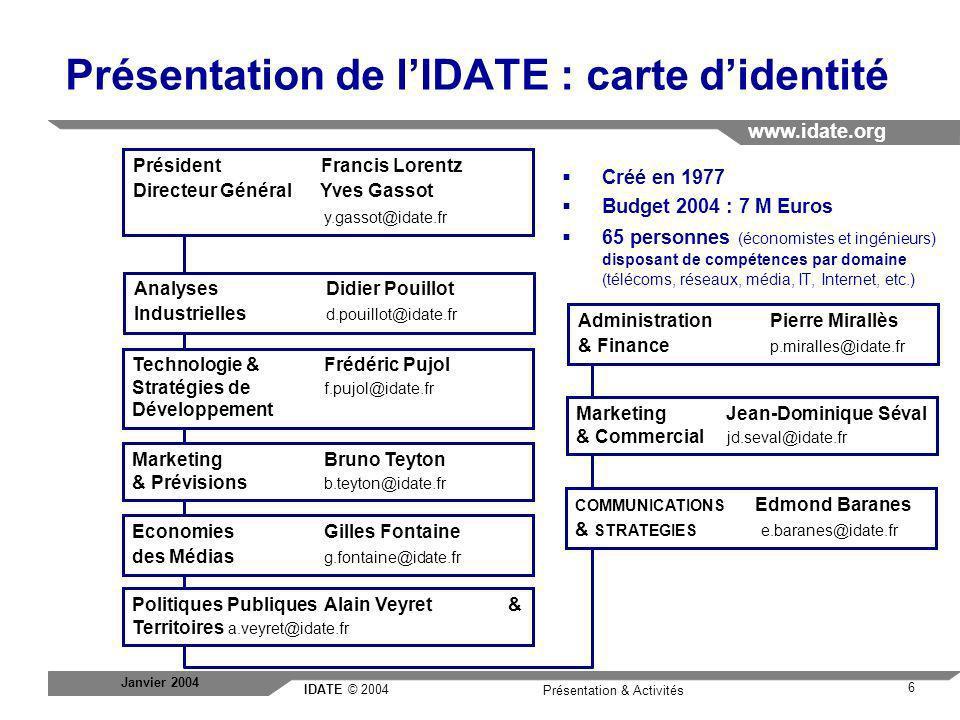 Présentation de l'IDATE : carte d'identité