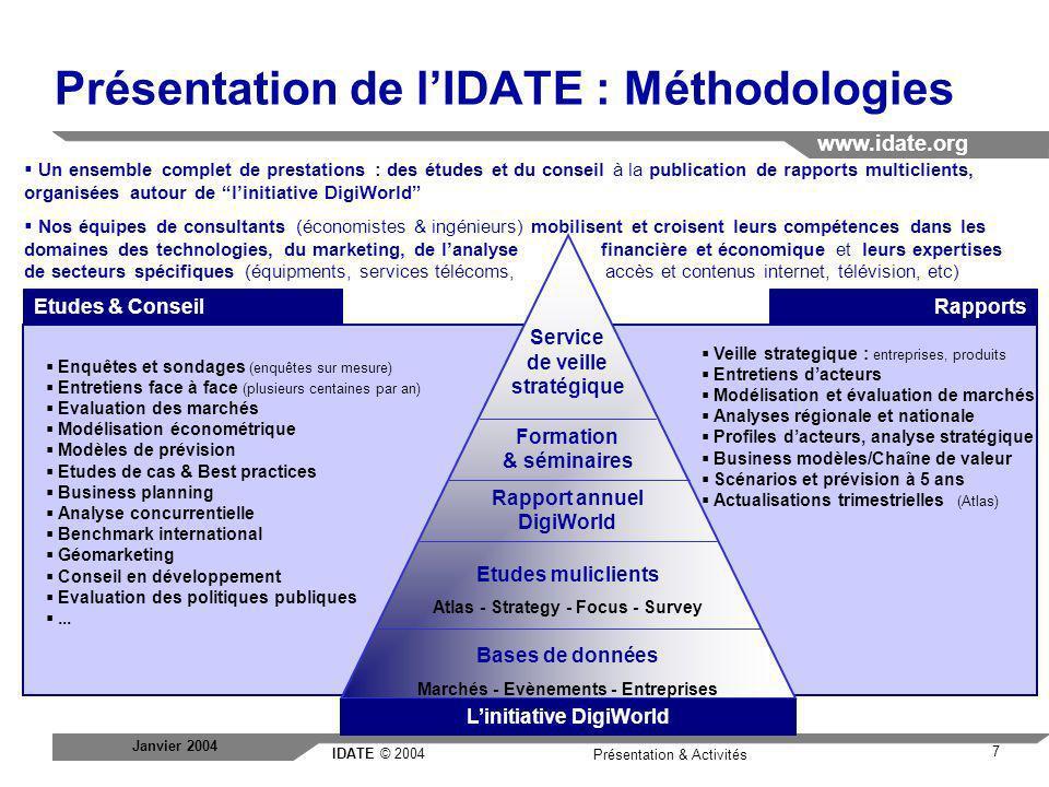 Présentation de l'IDATE : Méthodologies