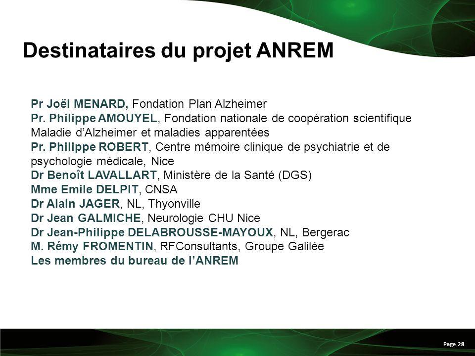 Destinataires du projet ANREM