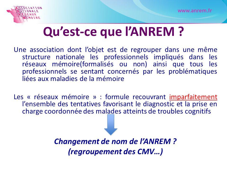 Changement de nom de l'ANREM (regroupement des CMV…)