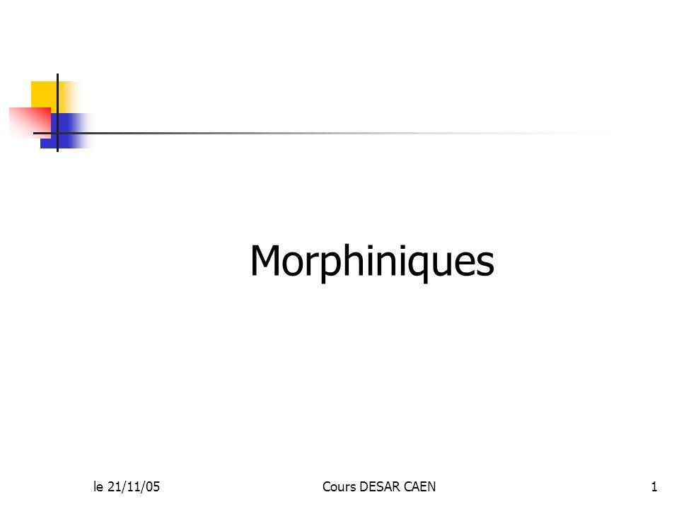 Morphiniques le 21/11/05 Cours DESAR CAEN