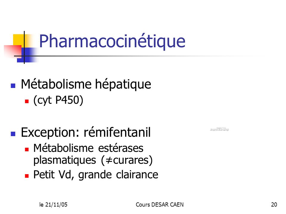 Pharmacocinétique Métabolisme hépatique Exception: rémifentanil