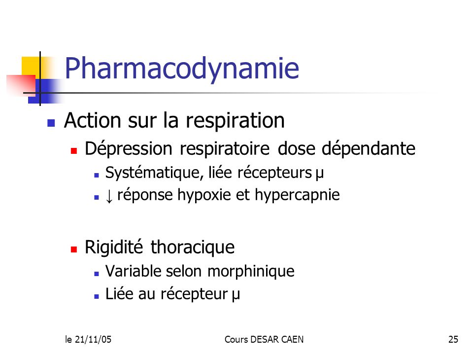 Pharmacodynamie Action sur la respiration
