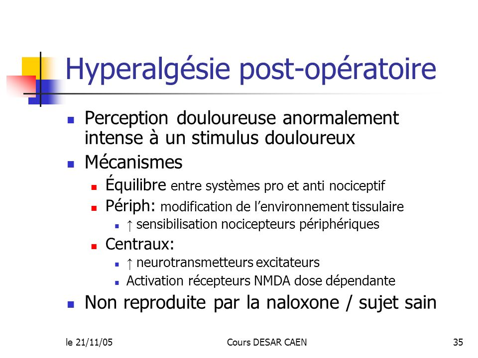 Hyperalgésie post-opératoire