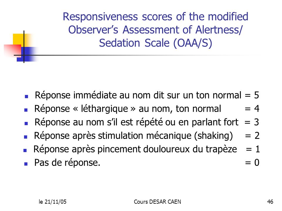 Responsiveness scores of the modified Observer's Assessment of Alertness/ Sedation Scale (OAA/S)