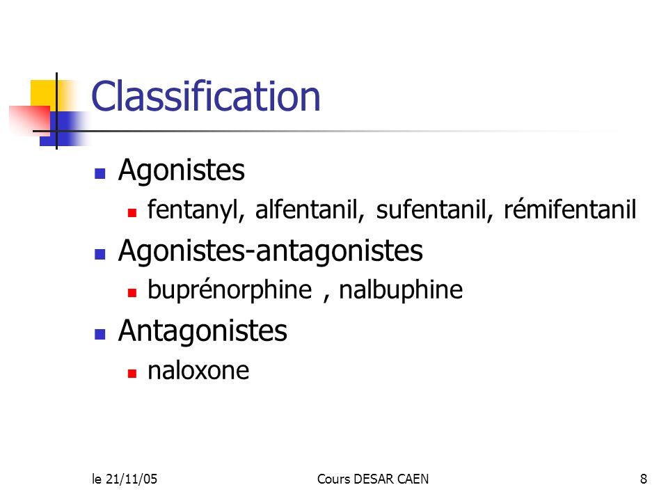 Classification Agonistes Agonistes-antagonistes Antagonistes