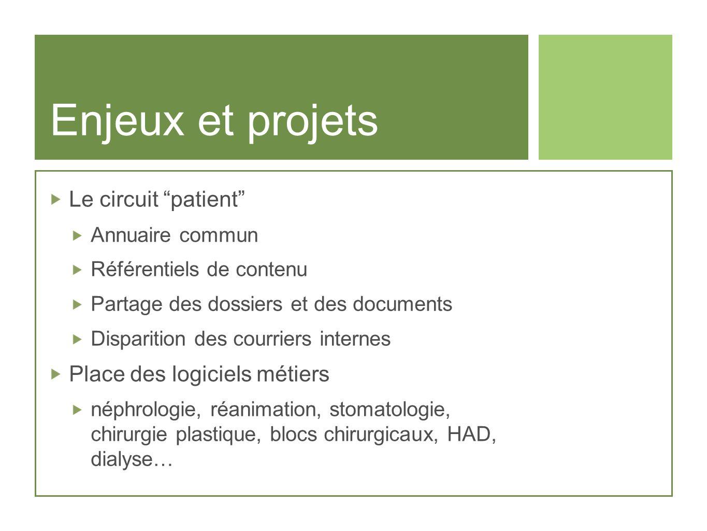 Enjeux et projets Le circuit patient Place des logiciels métiers