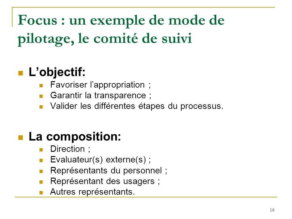 Focus : un exemple de mode de pilotage, le comité de suivi