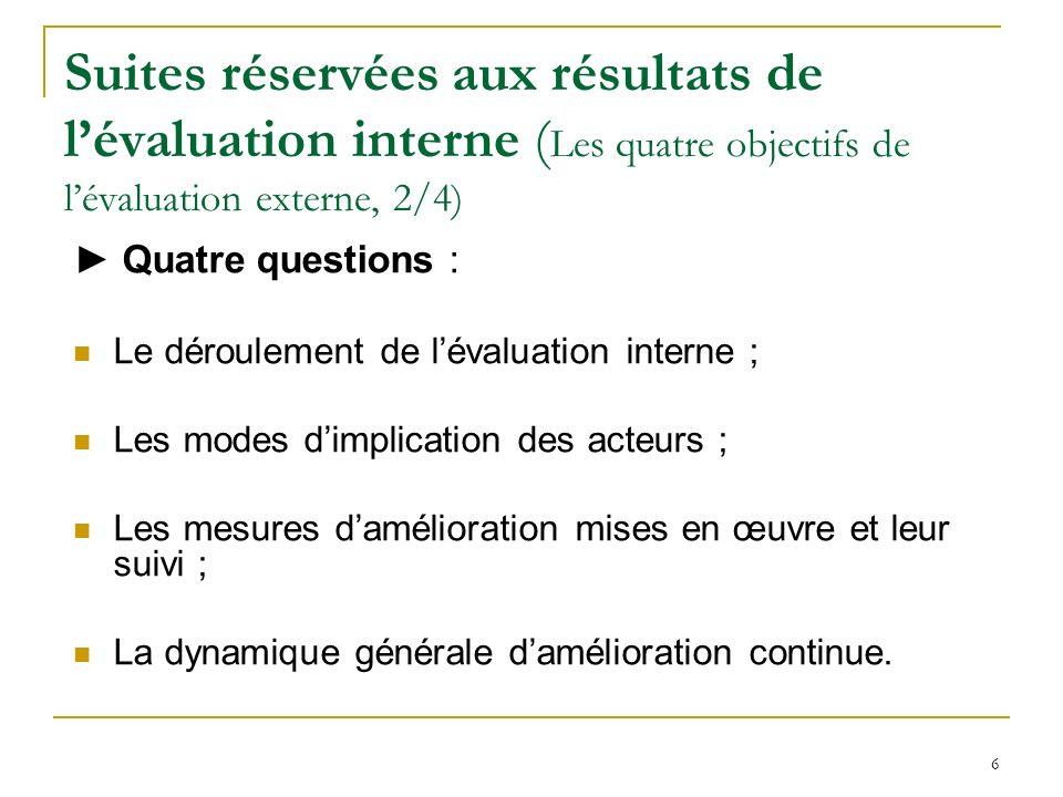 Suites réservées aux résultats de l'évaluation interne (Les quatre objectifs de l'évaluation externe, 2/4)