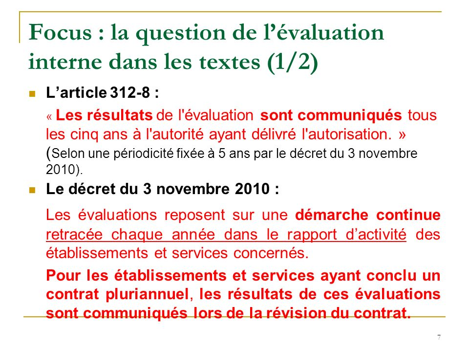 Focus : la question de l'évaluation interne dans les textes (1/2)