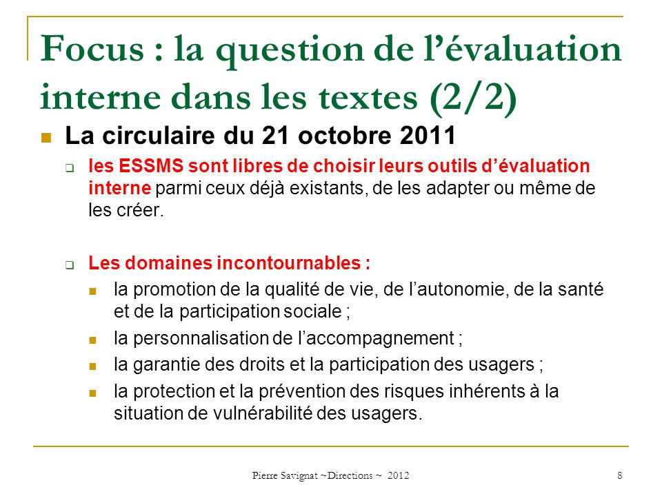 Focus : la question de l'évaluation interne dans les textes (2/2)